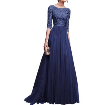 Amart Korean Fashion Women Formal Dress Lace Patchwork Chiffon Backless Prom Evening Party Long Dresses - intl