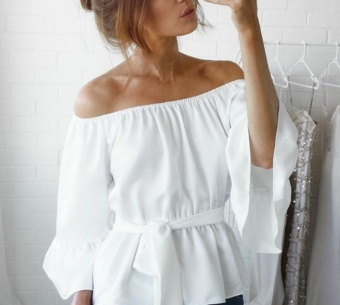 Amart Korean Fashion Women Off Shoulder Chiffon Blouse Long Sleeves Casual Stretch Blouses Tops(White) - intl