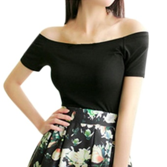 Amart Simple Fashion Summer Women Blouse Solid Color Tops Off Shoulder Shirt Short Sleeve Casual Blouses(black) - intl
