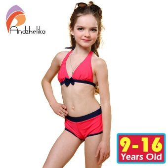 Andzhelika Swimsuit for girls 2017 Summer Girls Bikini Cute Bow Children Swimwear Children Girl Swimming Suit Kid Bathing Suit - intl