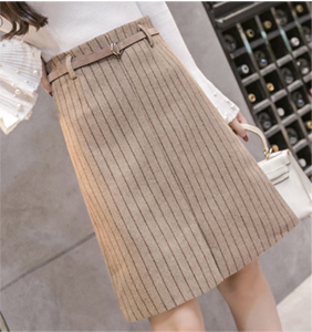 Korean-style woolen Spring and Autumn New style sheath skirt A-line dress (Khaki)