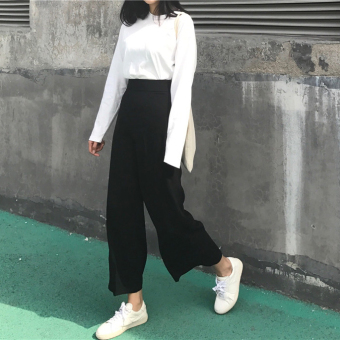 Autumn and Winter new Korean chic Retro was thin waist casual pants female pantyhose pants straight pants wide leg pants trousers tide (Black)