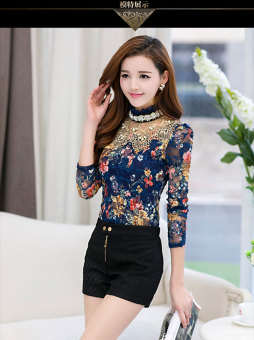 Autumn and Winter Plus velvet warm female thick long-sleeved lace shirt Top (Floral (Plus velvet))