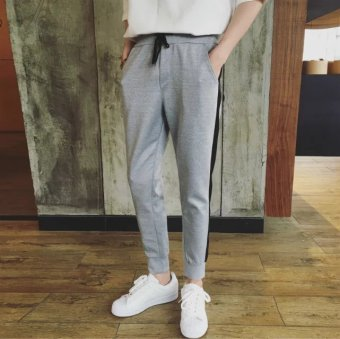 Autumn New style spring and summer harem pants ankle-length pants (Beam foot gray pants black rod)