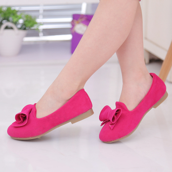 Baby Spring and Autumn princess shoes New style kids shoes (Rose color)