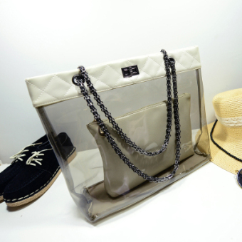 Transparent female New style summer different size bags bag (Off-white color)