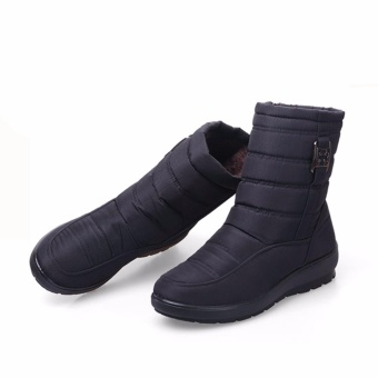 Big Size Waterproof Winter Women Snow Boots High Quality Warm Thick Plush Ankle Boots Woman Shoes (Black) - intl