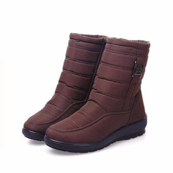 Big Size Waterproof Winter Women Snow Boots High Quality Warm Thick Plush Ankle Boots Woman Shoes (Brown) - intl