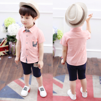 Boy's summer New style children's short sleeved suit (Summer W shirt-Powder)
