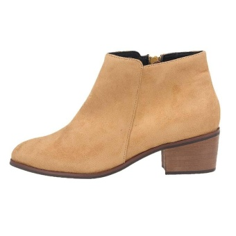 (brown)New Women Flat Ankle Boots Female Suede Casual Boot US Plus Size - intl