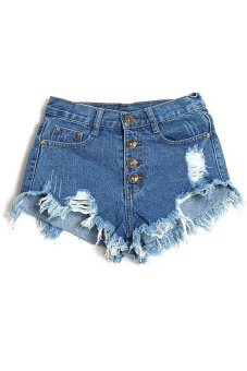 Buttons Ripped Fringe Denim Shorts (Blue) (EXPORT)