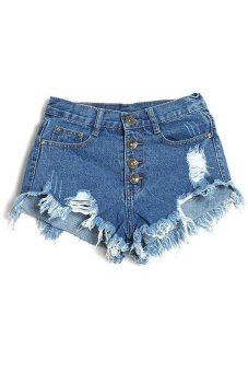 Buttons Ripped Fringe Denim Shorts (Blue)(Export)