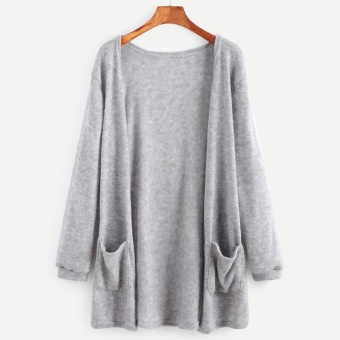 BUYINCOINS Women Long Sleeve Oversized Loose Knitted Sweater Jumper Cardigan Outwear Coat(Grey) - intl