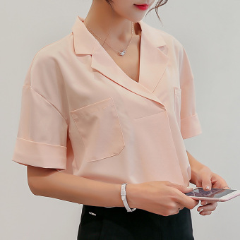 Color Diana Korean version of the solid color spring and summer new chiffon bottoming shirt slim casual shirt (Pink)
