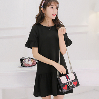 CALAN DIANA Women's Korean-style Large Size Knitted Short Sleeve Dress (Black)