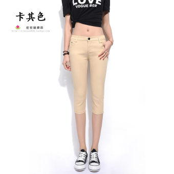 Casual candy spring stretch multi-color length pants (Khaki)
