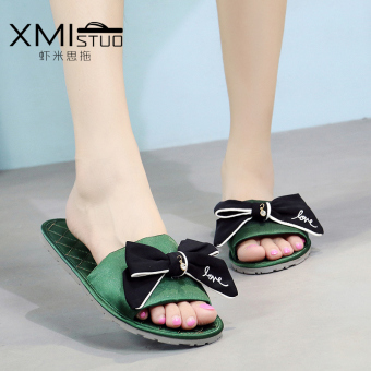 Harga Casual silk flat non-slip floor home slippers (7255W home sandals green bottom black cloth bow)