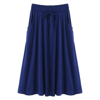 CELMIA Women Casual Loose Skirts 2017 Summer Fashion Drawstring Elastic Waist Long Skirt Ladies Solid Pleated Pockets Skirts Blue - intl