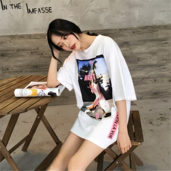 Chic female short-sleeved big neckline Han Fan loose T styleT-shirt (White)