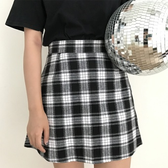 Chic Korean black and white summer new skirt high-waisted half-length skirt