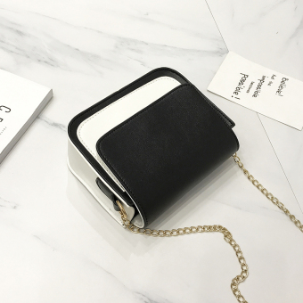 Chic Korean-style New style contrasting color shoulder bag small bag (Black)