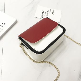 Chic Korean-style New style contrasting color shoulder bag small bag (Red)