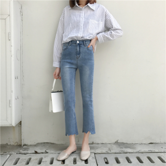 Chic retro solid color autumn high-waisted ankle-length pants (Blue)
