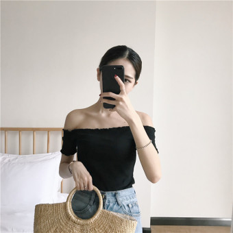 Chic versatile solid color women off-the-shoulder Top Cotton Short sleeved t-shirt (Black)