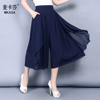 Chiffon thin high-waisted LOOESN casual pants wide leg pants culottes (Navy Blue)