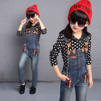 Children children's clothing 6 girls spring suit 7 long pants 8 Spring and Autumn 9 large children 10 denim overalls 12-year-old 13 tide (Dot bottoming shirt)