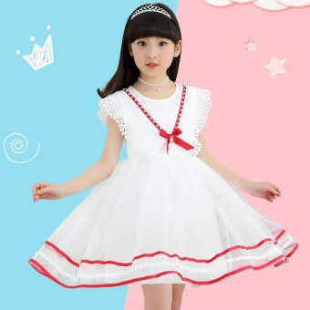 Children Girls Dress 2017 Summer Fashion Casual College Style Girl A-Line Dress Princess O-Neck Sleeveless Kids Girls Clothing - intl