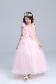 Children wedding dress girls dress princess dress flower girl dresses long section evening dress Big Boy piano performance clothing autumn and pink