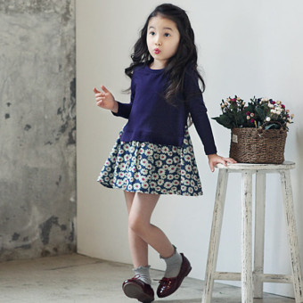 Children's clothing 2017 New style girls dress children cotton princess floral dress baby long-sleeved children dress (Deep Purple Top)