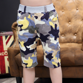 Children's clothing boy shorts Summer 7 children's pant 9 sports pants 10 camouflage pants large Tong Chunmian summer 12-year-old (Light yellow)