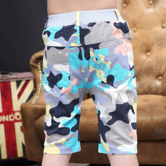 Children's clothing boy shorts Summer 7 children's pant 9 sports pants 10 camouflage pants large Tong Chunmian summer 12-year-old (Sky blue color)