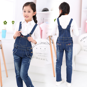 Children's clothing girls overalls 2016 New style spring Korean-style denim pants children's Spring and Autumn dress large children 12 years old trousers
