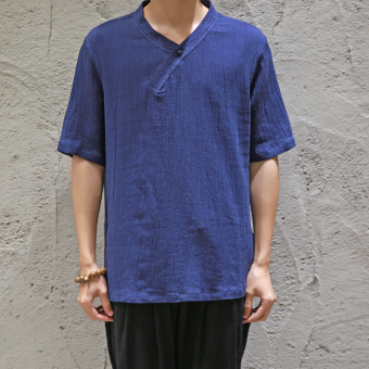 Chinese-style Linen men T-shirt short-sleeved Chinese Plate buttons V-neck Top Xie Jin Han Chinese clothing national wind Plus-sized linen clothes fat (Dark blue color)