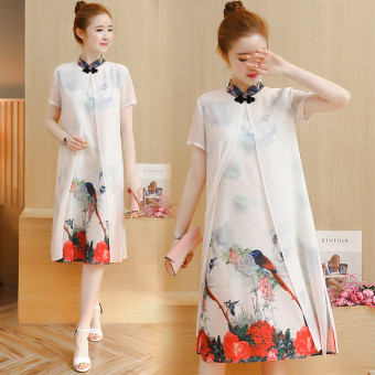 Chinese-style retro New style printed medium-length dress Cheongsam (Sky blue color)
