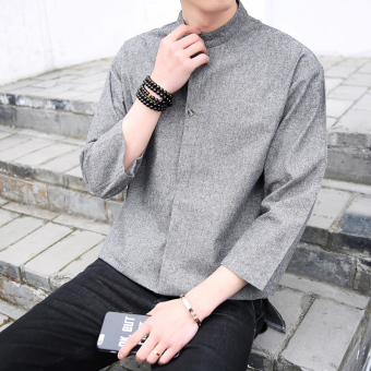 Chinese fashion clothing men's short-sleeve half sleeved shirt 3/4-sleeve shirts (Dark gray color) (Dark gray color)