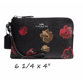 COACH CORNER ZIP WRISTLET IN HALFTONE FLORAL PRINT COATED CANVAS ANTIQUE NICKEL/BLACK MULTI F55824