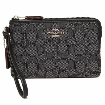 Coach Corner Zip Wristlet in Outline Signature (Black Smoke)