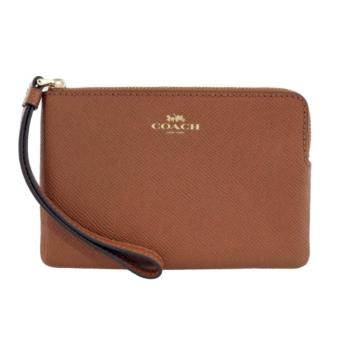 Coach F58032 Corner Zip Crossgrain Leather Wristlet