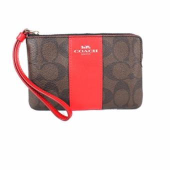 Coach F58035 Corner Zip Wristlet in Signature Coated Canvas with Leather Stripe (Dark Brown/ Bright Red)