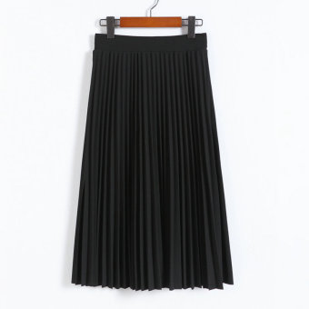 College Wind hand pressure pleated spring and summer pleated skirt (Black)