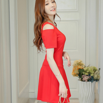 CALAN DIANA Women's Korean-style Fashionable Knitted Short Sleeve Underskirt Dress (Red)