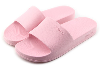 Couple's home non-slip bathroom slippers home slippers (Pink)