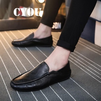 CYOU Spring and Autumn Slip on Casual Men Loafers Moccasins Shoes Genuine Leather Men's Flats Shoes Kasut Lelaki (Black) - intl
