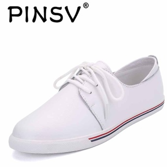 DANJI Fashion Women Flats Lace Up Comfort Shoes Casual Leather Oxfords Loafers-White - intl