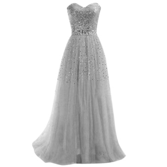 Eachgo Fashion Women Summer Off Shoulder Lace Squins Strapless Prom Dress Wedding Party Evening Gown Long Dresses ( Gray ) - intl