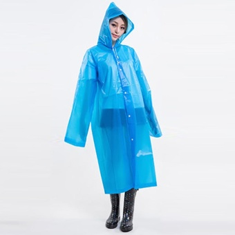 Elife Fashion Women EVA Long Transparent Poncho Hoodie Portable Rainwear Raincoat For Hiking Travel Outdoor ( blue ) - intl